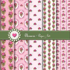Pink Vintage Roses Scrapbooking Paper - Digital -