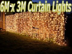 6m x 3m 480 LEDs WARM WHITE String Fairy Curtain Lights Christmas ...