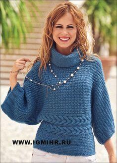 Пуловер-кимоно, связанный единым полотном. Спицы