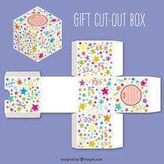 Cadeau mignon découpé boîte avec des étoiles de couleur Vecteur gratuit Cardboard Box Crafts, Paper Crafts, Printable Box, Printables, Alcohol Ink Crafts, Gift Wraping, Birthday Box, Craft Box, Diy Box