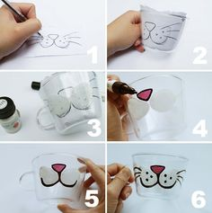 Now that's pretty: DIY Glass Painted Kitten Teacup