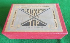 Black Base tips box. vintage cue tips. | Browns Antiques Billiards and Interiors.