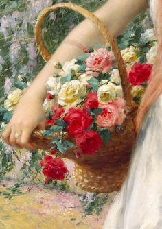 c0ssette:  Emile Vernon,The Flower Girl (detail)