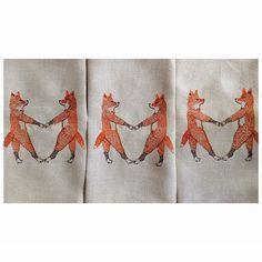 Fox friends on our Fox Love Tea Towels!!