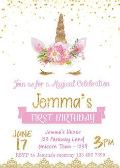 Unicornio cumpleaños invitación invitación de unicornio