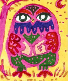 Owl Print Animal Art Pink Owl Owl Decor Pink by AGirlAnOwlAndACat