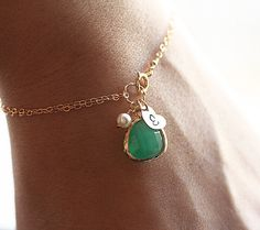 Gold Initial Charm Bracelet, Green Onyx Glass Pendant, Swarovksi Pearl - Personalized Bracelet - Hand Stamped 14k Gold Fill - Bridesmaid