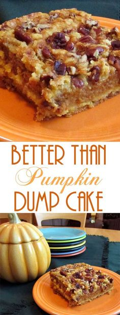 Than Pumpkin Dump Cake This pumpkin dessert is so good that everyone will be begging for the recipe, just like I did when I first tried it.This pumpkin dessert is so good that everyone will be begging for the recipe, just like I did when I first tried it. Thanksgiving Recipes, Fall Recipes, Holiday Recipes, Pumpkin Recipes Easy Quick, Easy Pumpkin Desserts, Pumpkin Foods, Pumpkin Cake Recipes, Fall Dessert Recipes, Holiday Appetizers