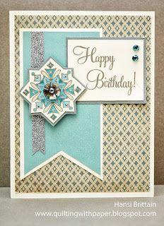 Quilting With Paper: Shades of Blue for Atlantic Hearts #Frosted #M1031SingleSnowflake #D1475CardChatter-Birthday