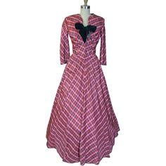 1940s Plaid taffeta Evening Dress with Matching Bolero Jacket - 1940s Plaid taffeta Evening Dress with Matching Bolero Jacket.  Offered by Noble Savage Vintage at Ruby Lane.