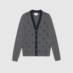 Wool cardigan with bees and stars