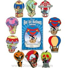 Disney Mystery Pin Collection - Hot Air Balloon - Complete - 10 Pins - New Ideas Walt Disney, Disney Trips, Disney Magic, Disney Art, Disney Pixar, Disney Pin Trading, Disney Dream, Disney Love, Disney Pins Sets