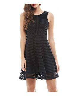 **AX Paris Navy and Black ladder skater dress