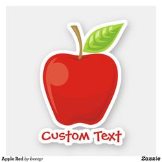 Shop Apple Red Sticker created by beetgr. Design Your Own Stickers, Custom Stickers, Your Design, Vinyl Sheets, Red Apple, White Ink, My Images, Holiday Cards, Art For Kids