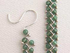 Sterling Stone Bead Earrings Long Dangle Earrings by EdithToledano