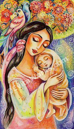 Madre hijo maternidad arte árbol de la vida bebé por EvitaWorks