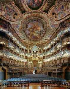 Amazing baroque architecture inside Margravial Opera House, Bayreuth, Germany
