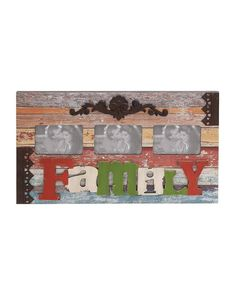 """Family Themed Vintage Wall Photo Display with Rusty Metal Details - Crafted from the finest iron and well-polished wood, this embellished artifact is a perfect addition to every home. Measuring 24 inches in width, 1 inch in thickness and 14 inches in height, this enticing room decor coordinates with the theme of every wall. Bedecked with three identical sections of picture size 6""""x4"""", this aesthetically done handiwork represents an epitome of sheer artistic excellence"""