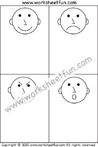 Worksheet 1 – Emotions & Feelings – Happy, Sad, Mad and Surprise - (FREE 4 Other Sheets)
