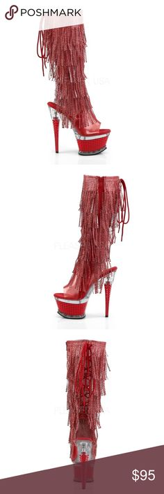 dcfec0126b7 Sexy Red Open Toe Open Heel Back Lace-Up Knee High 6 1 2