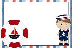 Menino Marinheiro Azul e Vermelho – Kit Completo com molduras para convites, rótulos para guloseimas, lembrancinhas e imagens!  Fazendo a Nossa Festa