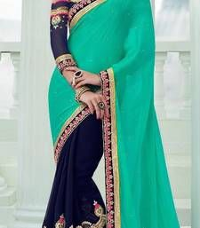 Buy Blue and  Aqua embroidered georgette saree with blouse georgette-saree online