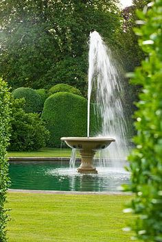 Formal Gardens Pond Landscaping Formal gardens pond - english formal g Formal Garden Design, English Garden Design, Home And Garden Store, Garden Entrance, Pond Landscaping, Garden Fountains, Water Fountains, Garden Ponds, Water Features In The Garden