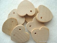 Plain Wood Heart Shapes Pack of 9 Wood Hearts by berrynicecrafts, £1.50