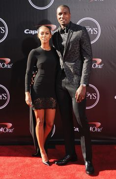 Keri Hilson and Serge Ibaka arrive at the 2014 ESPYS at Nokia Theatre L.A. Live in LA dress in all black. via StyleList | http://aol.it/1zMyLuI