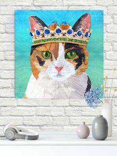 "#calicocat #catart #catdecor #walldecorart #walldecor #princesscat #catprint #autism #autismawareness #wallart #animalart #catlover #canvasart Canvas on 11/2""stretchers gallery wrapped. #homedecor"
