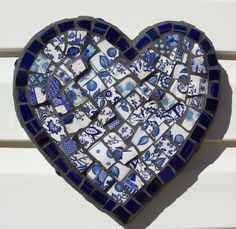 Blue Heart Mosaic Mixed Media Wall Art Hanging by Red Crow Arts. $40.00, via Etsy.