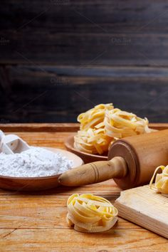 Fresh homemade tagliatelle by grafvision. Fresh homemade tagliatelle on rustic wooden board Drink Photo, Peanut Butter, Food And Drink, Homemade, Fresh, Pasta, Creative, Check, Photography