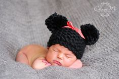 Hand Knit Minnie Mouse Inspired Pom Pom Hat by jollyslittlecloset, $20.00