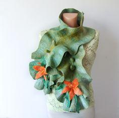 https://flic.kr/p/ajhftm | Felted scarf - green Orange flower | hand dyed, wet…