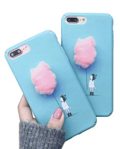 Cute Pink Cotton Candy Design Blue iPhone Case