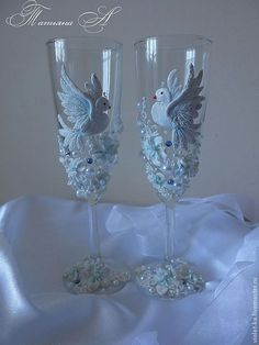 Wedding glasses with lace. Handmade.
