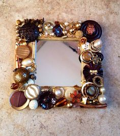 LITTLE OWL MOSAIC MIRROR!  So cute!!!!! Made with vintage jewelry pieces.  by Mosaic treasure Box