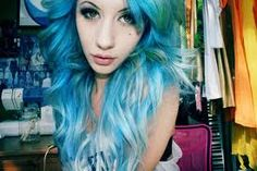 There's a part of me that's an inked suicide girl with sexed up hair and fishnets. Bright Hair, Pastel Hair, Pastel Blue, Corset, Blue Green Hair, Turquoise Hair, Aqua Hair, Punk, Dye My Hair
