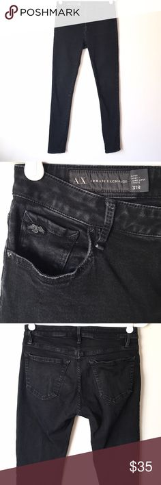 Armani Exchange Super Skinny Jeans These Size 31R Armani Exchange super skinny jeans have a subtle distressed look and are in great condition. Reasonable offers welcome and don't forget to bundle for a discount!   Xoxo -J Armani Exchange Jeans Skinny