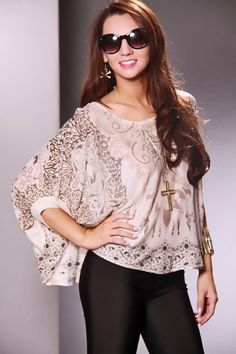 fcbd462109ff9 Taupe Multi Damask Print Rhinestone Wide Neck Top