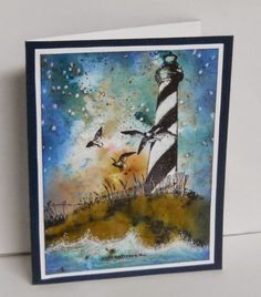 Lighthouse from I Brake for Stamps. (background made with Bister inks)  Stunning!!