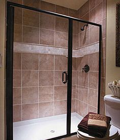 Can I Paint My Shower Door Surround? Yes and it looks gorgeous! Small Bathroom Inspiration, Simple Bathroom Designs, Bathroom Ideas, Bathroom Remodeling, Bath Ideas, Bathroom Updates, Bathroom Colors, Shower Ideas, Tiny Bathrooms