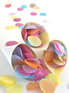 make your own tissue paper confetti and use wooden cones to package them in for guests Diy Confetti, Paper Confetti, Wedding Confetti, Confetti Ideas, Confetti Bags, Seed Paper, Diy Wedding, Wedding Ideas, Wedding Makeup