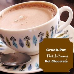 Crock-Pot Thick & Creamy Hot Chocolate- for when you have a houseful of kids in the winter… (sounds yummy and 5 star rating). oooOOOOoo I need another CrockPot! Slow Cooker Recipes, Crockpot Recipes, Cooking Recipes, Crockpot Drinks, Yummy Drinks, Yummy Food, Tasty, Hot Chocolate Recipes, Chocolate Chips