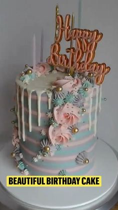 Buttercream Cake Decorating, Cake Decorating Designs, Cake Decorating Techniques, Cake Decorating Tutorials, Cake Designs, Beautiful Birthday Cakes, Beautiful Cakes, Cake Baking Videos, Girly Cakes