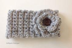 Flower Headband Button Headband Crochet by BellaJulieBoutique