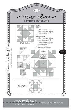 Moda Sampler Block Shuffle - Block #19 by Kansas Troubles Quilters.