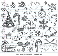 stock vector : Hand-Drawn Christmas Sketchy Notebook Doodles- Vector Illustration Design Elements on Lined Sketchbook Paper Background