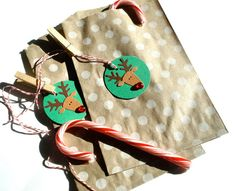 Reindeer Gift Bag And Tag Set by Loustudio on Etsy, $4.00