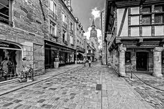 Dinan Medieval Street. The medieval town of Dinan on the hilltop has many fine old buildings, some of… #markstothardphotographer #france